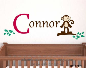 CHILDREN WALL DECAL - Branch with Monkey Custom  your name a  wall decal for Nursery, kids room. Cuter Jungle and Safari themes