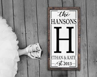 Family Name Established Sign | Personalized Rustic Sign | Wooden Name Sign | Custom Signs | Rustic Home Decor | Wedding Gift | Framed Sign|