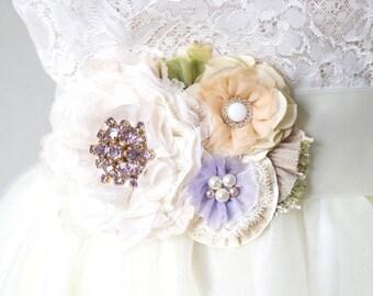Wedding Belt, Bridal Sash, Floral Sash, Wedding Dress Sash with Flowers, Floral Bride Sash, Colorful Flower Sash, Lavender Bridal Belt