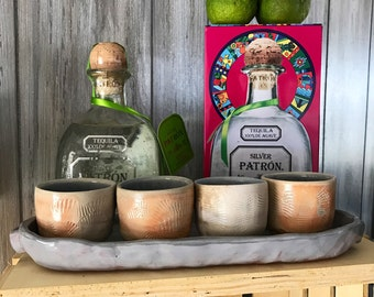 Tequila Serving Set, Wood Fired Shot Glasses with Sea Shell Texture and Gray Earthenware Tray, Small Handmade Cups, Set of 4, 2 oz. Shooters