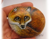 The redfox  2 -  Handpainted rock painting painted stone miniature painted rock pebble fine art