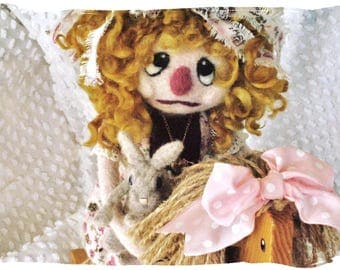 Raggedy Ann Needle Felted Mix Media Art Doll Soft Sclupted OOAK Fiber Art