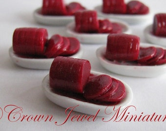 1:12 Holiday Dish of Sliced Cranberry Sauce by IGMA Artisan Robin Brady-Boxwell - Crown Jewel Miniatures