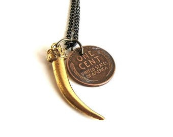 SALE lucky talon & penny necklace . wheat penny necklace . mens claw necklace . eagle claw necklace on bronze color chain