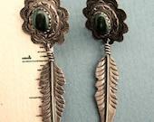 Vintage NAVAJO STERLING Pierced Earrings w/Dangling Feather & Malichite Stone