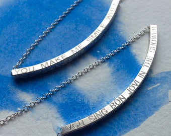 "Silver quote 16"" necklace ,You Make Me Smile When..."