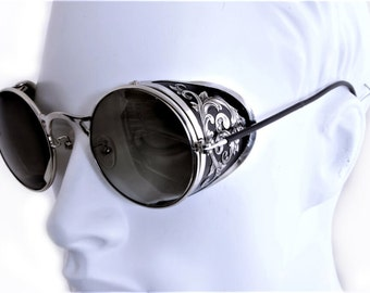 Steampunk Goggles Aviator Sunglasses Silver Side Shields Victorian engrave vintage Driving glasses Gradient Green Shade