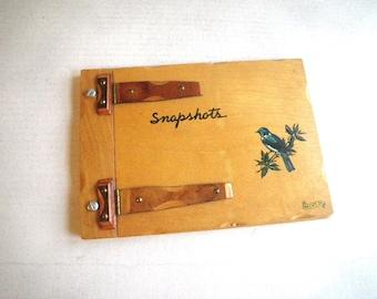 "Wood Hinged Photo Album with Bird ""White Mountains"" NH Souvenir Scrapbook"