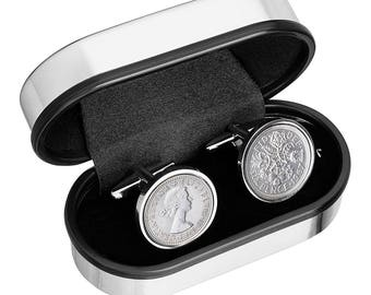Coin Jewelry - English sixpence coins Cufflinks- Wear a piece of history - Genuine coins -  Inset into Cufflink case - 100% satisfaction