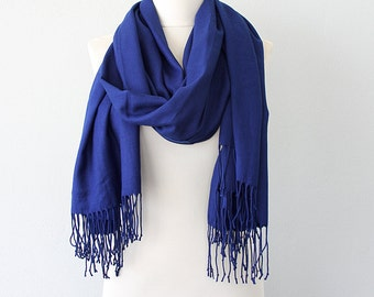 Pashmina shawl Cobalt blue scarf Thick Pashmina wrap Fringe shawl Plain shawl Winter accessories Solid color shoulder scarf