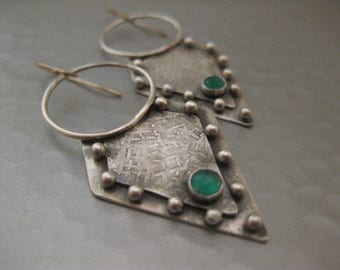 Handmade Artisan Gladiator Green Onyx Sterling Silver Earrings