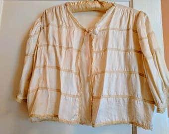 Vintage Vanilla Satin Bed Jacket, Circa 1930's
