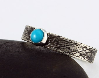 Size 7 1/2 Handcrafted Sterling Silver Stackable Ring 4 mm Turquoise Cabochon Textured Band Contemporary Artisan Jewelry 20306311111516