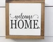 WELCOME HOME Mini 8.5 X 8.5 Black and White Rustic Farmhouse Wooden Sign