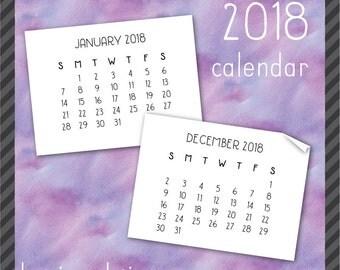 2018 Calendar Clip Art in Handwritten Font - Instant Download