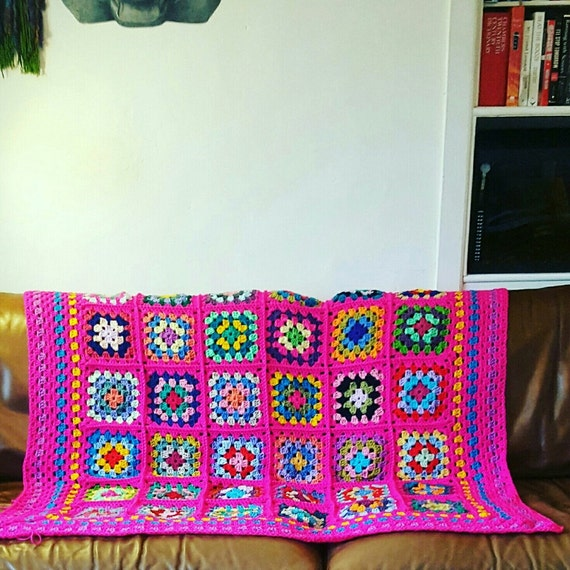 IN STOCK Striking Granny Squares Shocking Pink BLANKET Afghan Crochet Sofa Throw