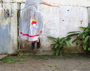 Oversized striped 80s dress