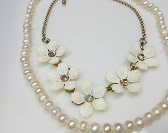 Stax Celluoid Flowers White and Rhinestone Art Deco Choker White Pearls