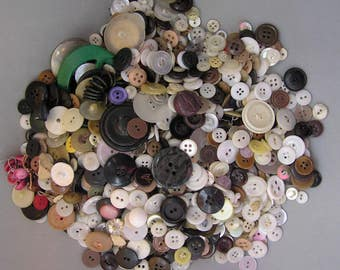 Buttons Vintage Antique Clothing Big Lot Mixed Collection Plus Matched Sets
