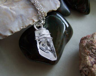 Pink Danburite Silver Wire Wrapped Gemstone Crystal Pendant
