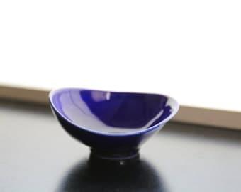 Studio Pottery Blue Glazed Sauce Bowl