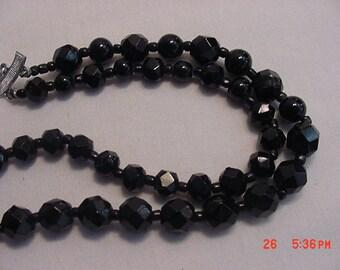 Vintage Black Glass Bead 2 Strand Adjustable Necklace  17 - 403