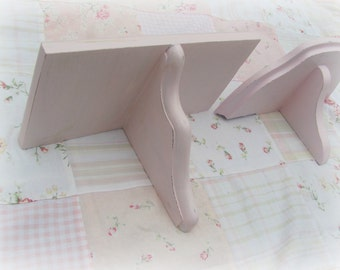 Pink Wall Shelves,  Shabby Cottage Chic Vintage Wood Wall Shelves, Pair of Pink Girls Room Nursery Shelves