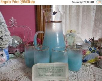 ON SALE Blendo Turquoise Lemonade Set-Aqua Lemonade Set-Original Price tag-Glass Sticker-Unused