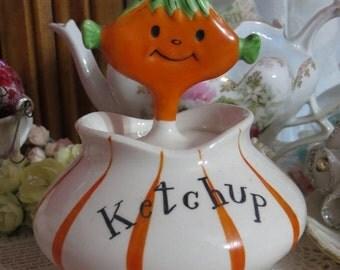ON SALE Vintage Holt Howard Pixieware Ketchup Jar Porcelain orange elf spoon Japan 1950s