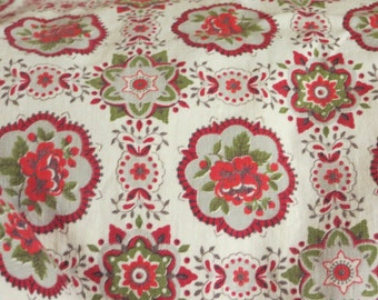 Vintage Red Roses Fabric-BTY-Medallions-Feedsack