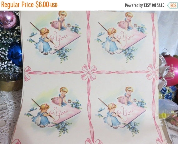 ON SALE Vintage Gift Wrap-Wrapping Paper-Birthday-Children-For You