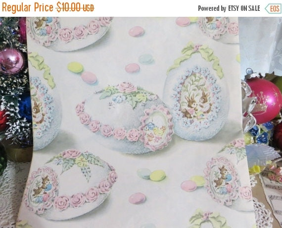 ON SALE Vintage Gift Wrap-Wrapping Paper-Easter-Eggs-Bunny-Children-Pastels-Full Sheet-1953