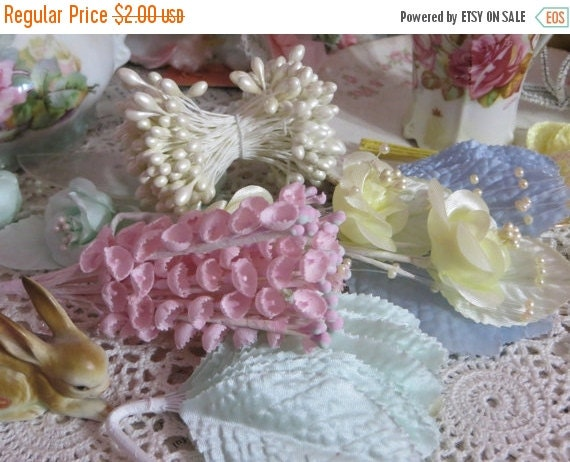 ON SALE Vintage Millinery Flowers-Lily of the Valley-Pink-Hats-Easter-Derby-Supplies
