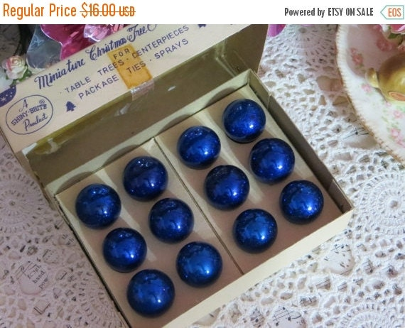 ON SALE Vintage Christmas-Tiny Feather Tree Glass Ornaments-Original Box-1 dozen-20mm-Shiny Brite-Midnight Blue