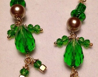 Leprechaun Earrings/St Patrick's Day Jewelry/Irish Earrings/Green Earrings/St Patrick's Day Earrings/Lucky Leprechaun/Shamrock Jewelry