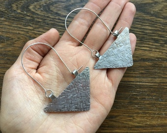 Rustic metal triangle hoop earrings, textured metal triangle earrings, geometric metal earrings