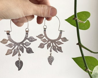 Leaf hoop earrings, pothos leaf hoop earrings, hammered aluminum  hoop earrings