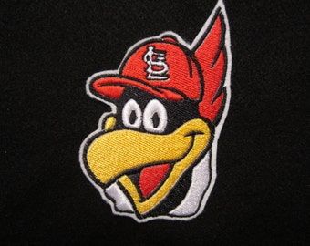 Embroidered St. Louis Cardinal Mascot Fred Bird, Iron On Patch, Baseball Patch, St. Louis Cardinals. Fred Bird Iron On Patch