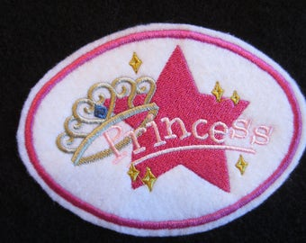 Embroidered Princess Iron On Patch, Princess Patch, Princess Applique, Little Girls Patch, Iron On Patch