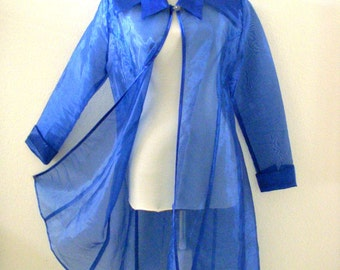 Vintage 80s Sheer Blue Chiffon Evening Duster - 1980s Iridescent Blue Jacket - Blue Chiffon Jacket Coat - Size Small to Medium