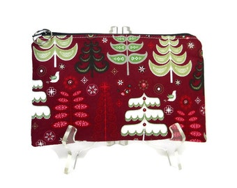Christmas Pouch, Winter Trees Zip Bag,  Pencil Pouch, Red Cosmetic Bag, Makeup Pouch,  Fabric Pouch, Gadget Case, E-Cig Bag, Travel Case