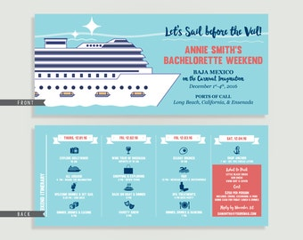 Cruise Bachelorette Invitation with Itinerary - Personalized Printable File or Print Package - Let's Sail Before the Veil #00146-PI10