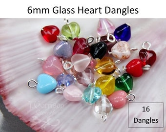 16  Sixteen 6mm glass heart dangles- birthstone colors & more- silver, gold, antique brass, copper, gunmetal or antiqued silver plated loops