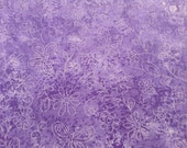 Purple Fabric Remnant 100% Cotton Fabric, 17 x 44, Butterflies and Flowers on Medium Purple Background