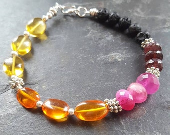 STRENGTH// Lower Chakra Citrine Quartz Garnet Infusible Aromatherapy Bracelet/Trinity Collection / Layering Stack Intentional Modern Jewelry