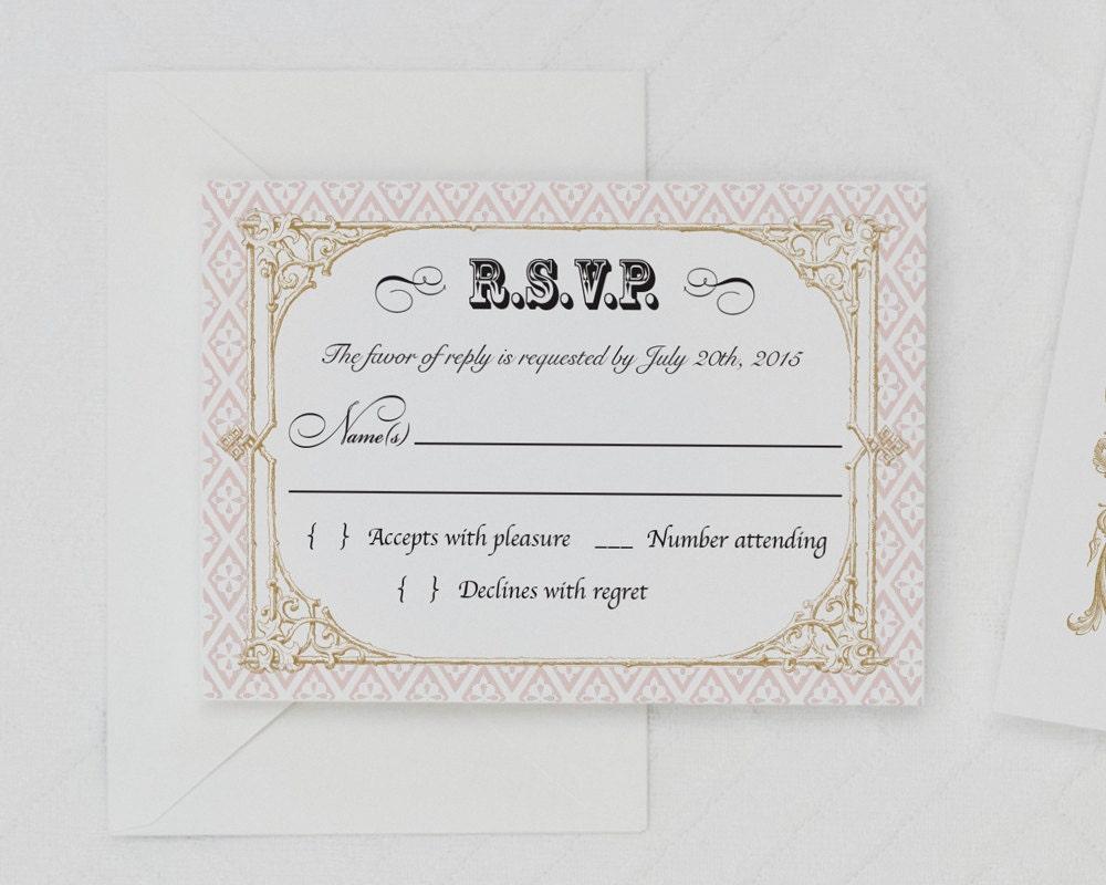 Baroque Wedding Invitations: Vintage French Baroque Wedding Invitation Digital