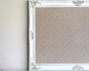 Linen MEMO BOARD Framed Bulletin Board White Distressed Vintage Home Office Wall Decor Magnet Board Cork Board Pinboard Fabric Kitchen Decor