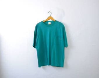 Vintage 80's teal blue tee shirt with pocket, t-shirt, size large