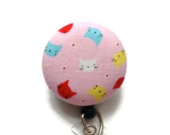 Cats Retractable Badge Reel/Nurse Badge Reel/Badge Reel/Retractable Badge Holder/Id Badge Holder/Badge Pull/Name Badge Clip/Pink Turq White