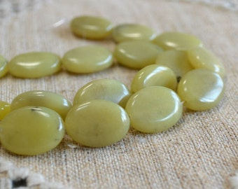 20pcs 20x15mm Flat Oval Olive New Jade Natural Gemstone Beads 16 Inches Strand